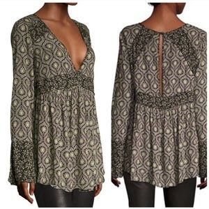 Free People Green Black Patterned Flowy Tunic